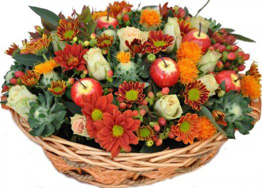 סידור פרחים מעוצב מצבעים חמים
